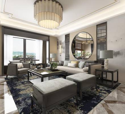 中式客厅, 客厅, 中式沙发, 茶几, 中式吊灯, 椅子