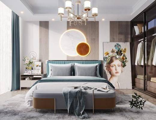 双人床, 吊灯, 墙饰, 衣柜, 床头柜, 地毯
