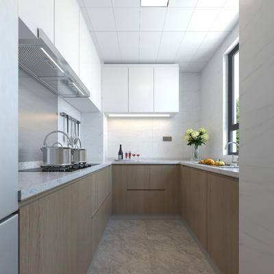 现代厨房, 简约, 厨房, 橱柜