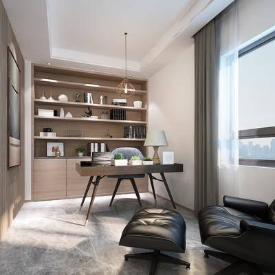 现代书房, 书房, 现代, 书桌, 现代椅子, 书柜