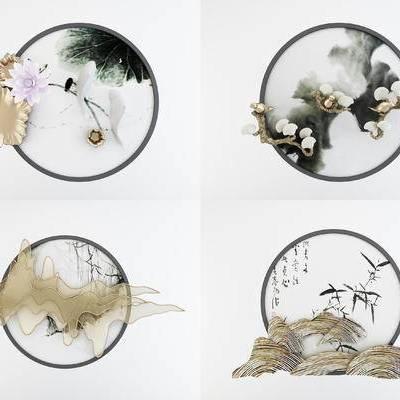 新中式圆形立体挂画, 墙饰