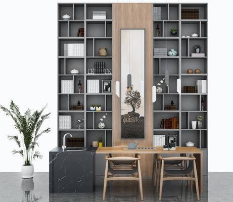 书柜, 置物柜, 陈设品, 盆栽, 桌椅组合, 单椅