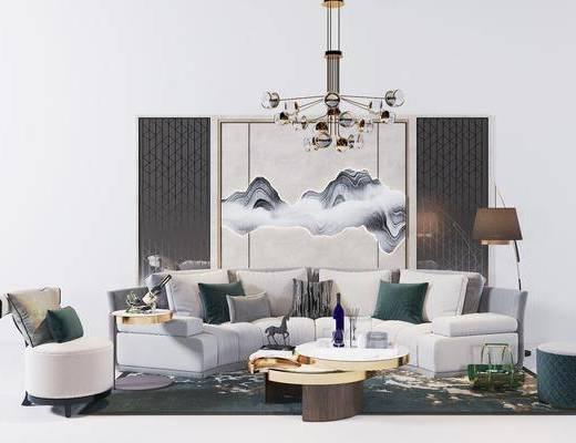 弧形沙发组合, 沙发组合, 沙发茶几组合, 吊灯组合, 摆件组合, 现代