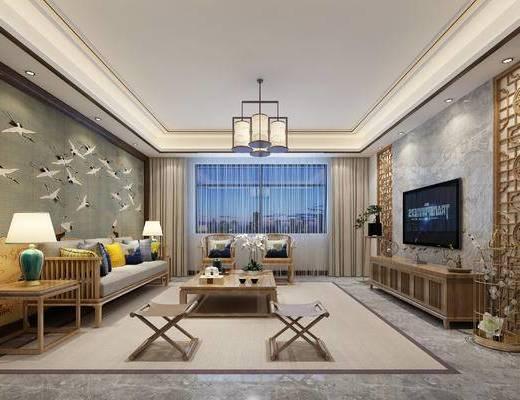 新中式客厅, 客厅, 中式客厅, 沙发, 电视柜, 茶几, 中式吊灯
