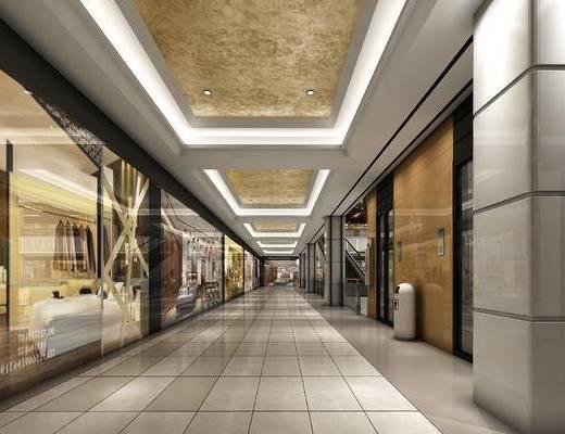 现代, 商场, 走廊, 商店, 商铺