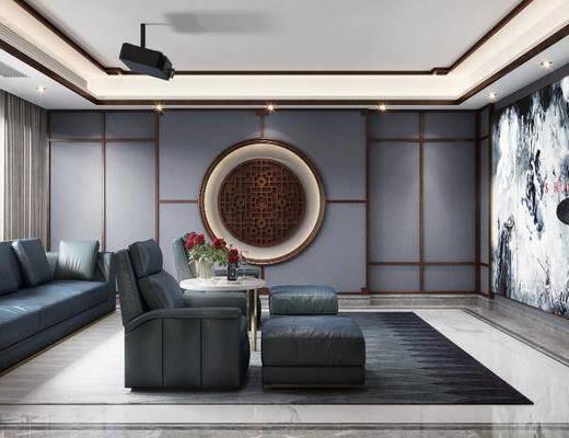 影视厅, 单椅, 墙饰, 屏幕