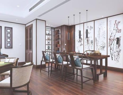茶室, 餐厅, 新中式茶室, 桌椅组合, 茶具组合, 娱乐室