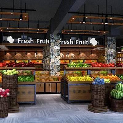 柜台, 前台, 装饰架, 水果, 食物, 现代, 水果超市, 双十一