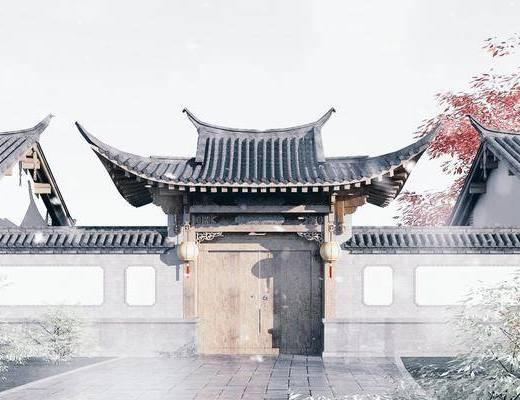 木结构大门, 古建筑, 酒店门头, 庭院大门, 门头