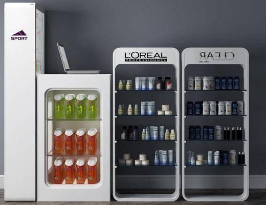 展柜, 装饰柜, 化妆品架, 化妆品, 现代