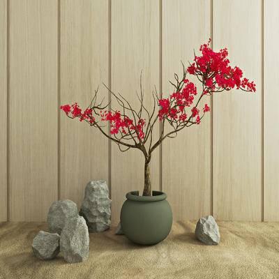 园艺小品, 现代, 中式, 盆栽, 石头