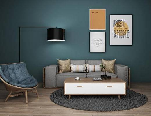 沙发组合, 沙发茶几组合, 现代沙发, 北欧沙发, 装饰画, 茶几, 北欧