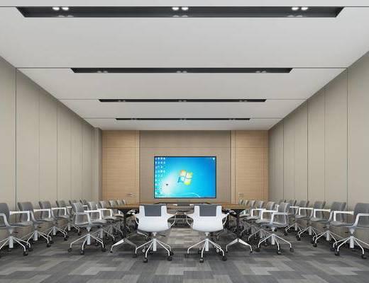 会议室, 会议桌, 办公椅, 屏幕