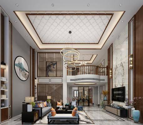 客厅, 餐厅, 别墅, 多人沙发, 床头柜, 台灯, 茶几, 单人沙发, 躺椅, 电视柜, 边柜, 吊灯, 圆框画, 装饰画, 挂画, 壁灯, 摆件, 装饰品, 陈设品, 新中式
