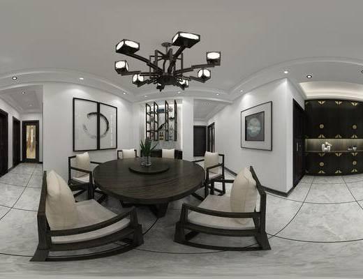新中式, 新中式客餐厅, 新中式沙发茶几组合, 中式餐桌, 中式吊灯, 客厅