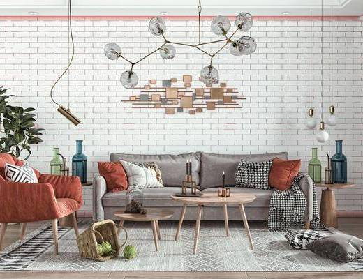 多人沙发, 墙饰, 吊灯, 休闲椅, 绿植, 沙发组合