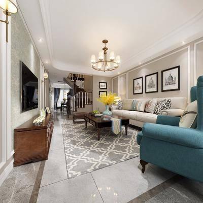 客厅, 餐厅, 沙发, 沙发凳, 茶几, 吊灯, 装饰画, 边几, 台灯, 摆件, 装饰品, 花瓶, 花卉, 餐桌, 单椅, 椅子, 餐具, 美式