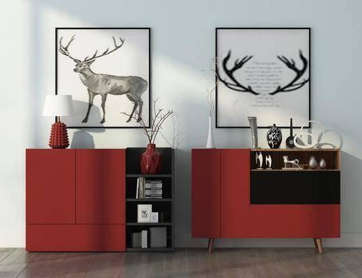 装饰柜, 边柜, 装饰画, 挂画, 台灯, 摆件, 装饰品, 陈设品, 北欧