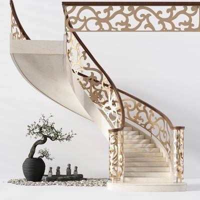 旋转楼梯, 栏杆, 金属扶手, 欧式, 盆栽, 绿植