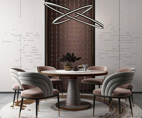 圆桌, 桌椅组合, 吊灯, 摆件组合, 餐具