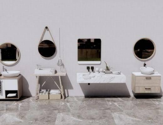 洗手盆, 壁镜, 摆件组合