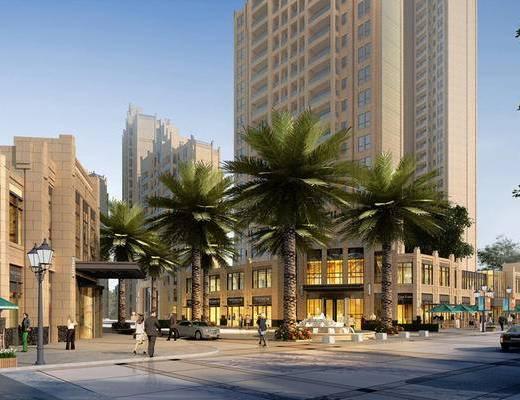 大厦, 建筑, 商业街, 现代