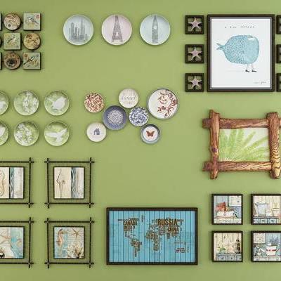田园地中海盘子挂画墙饰, 海星, 盘子墙饰