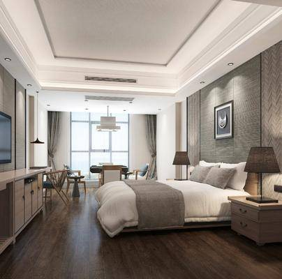 酒店客房, 双人床, 麻将桌组合, 床具组合, 桌椅组合, 新中式