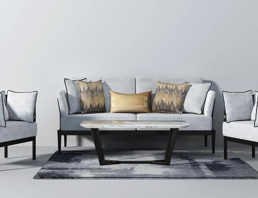现代沙发, 茶几, 抱枕, 单人沙发, 双人沙发, 沙发组合