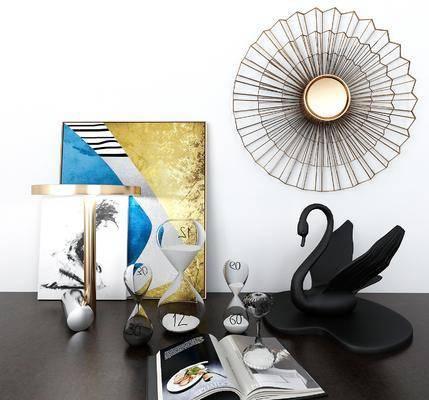 黑天鹅, 摆件组合, 墙饰, 装饰画, 装饰品, 陈设品, 现代