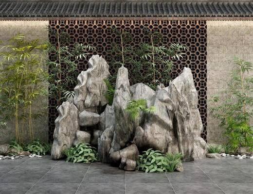 景观小品, 假山, 竹子, 植物