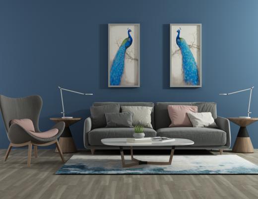 北欧沙发, 茶几, 装饰画, 沙发组合, 沙发茶几组合, 北欧