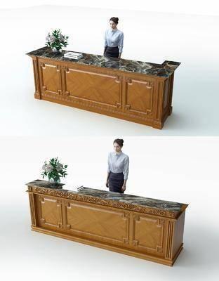 前台, 接待台, 人物, 盆栽, 绿植植物, 简欧