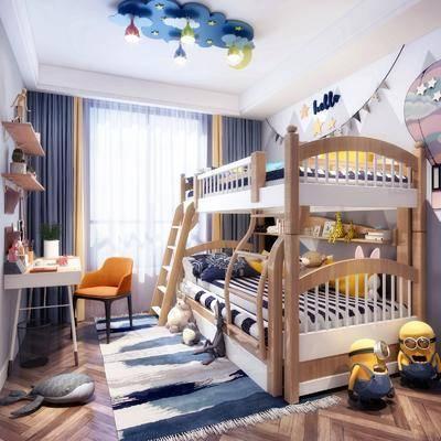 兒童房, 上下床, 書桌, 單人椅, 置物架, 玩具, 盆栽, 玩偶, 擺件, 裝飾品, 陳設品, 休閑椅, 吊燈, 北歐