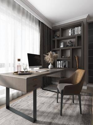 桌椅组合, 书桌, 摆件组合, 书柜
