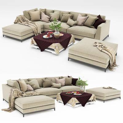 沙发组合, 转角沙发, 现代沙发, 现代转角沙发, 茶几, 沙发脚踏, 组合, 花瓶, 盘子, 桌布, 盆栽, 植物, 现代