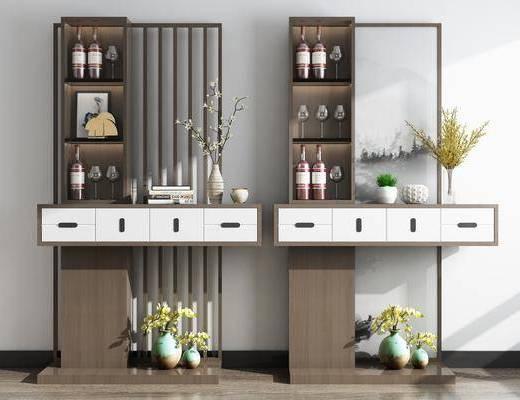 隔断柜组合, 酒柜, 花瓶花卉, 酒瓶, 摆件, 装饰品, 陈设品, 新中式