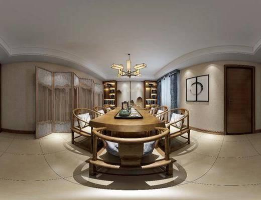 茶室, 家装全景, 茶桌, 茶具, 单人椅, 屏风组合, 装饰画, 吊灯, 装饰柜, 书柜, 书籍, 中式