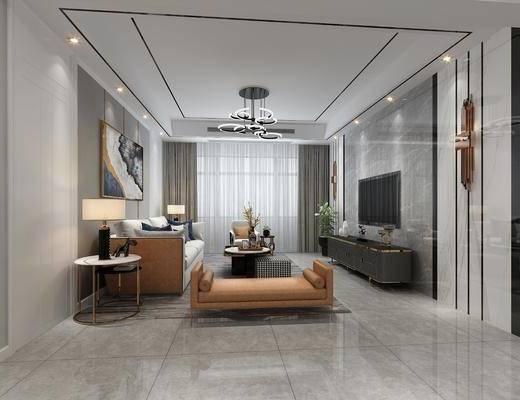 客廳, 餐廳, 家裝全景, 沙發組合, 沙發茶幾組合, 餐桌椅組合, 邊柜組合, 擺件組合, 酒柜組合, 現代輕奢
