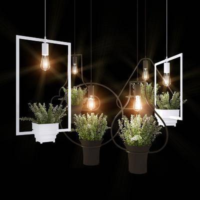 吊灯, 植物, 盆栽, 工业风