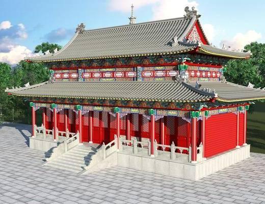 宫殿, 古建筑, 门面门头, 树木, 绿植植物, 中式