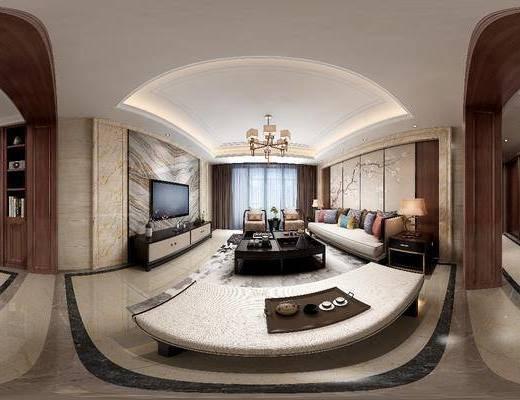 家装全景, 客厅, 多人沙发, 电视柜, 躺椅, 吊灯, 边柜, 茶几, 单人沙发, 摆件, 装饰品, 陈设品, 边几, 台灯, 装饰画, 挂画, 新中式