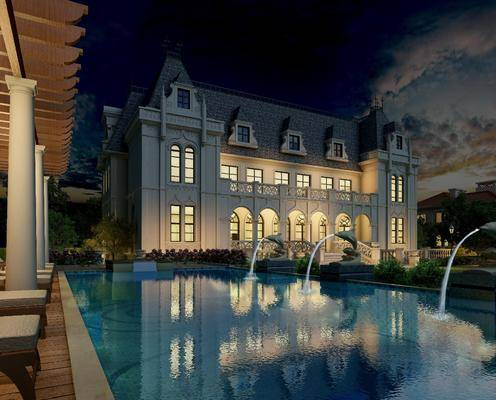 别墅, 住宅, 泳池, 喷泉