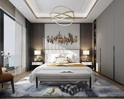 现代卧室, 床具, 双人床, 吊灯, 现代吊灯, 台灯, 床头柜, 现代台灯, 边几, 单人椅, 衣柜, 床尾踏