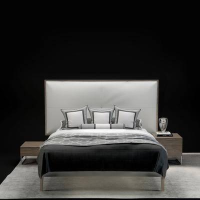 双人床, 床头柜, 地毯, 现代