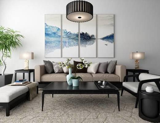 新中式, 吊灯, 沙发, 茶几, 挂画, 花瓶, 装饰品, 台灯