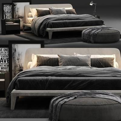 双人床, 床, 床具, 床头柜, 台灯, 现代