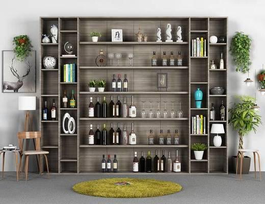 酒架, 酒柜, 地毯, 红酒, 酒水饮料, 酒瓶, 椅子, 落地灯, 吊篮, 盆景, 植物