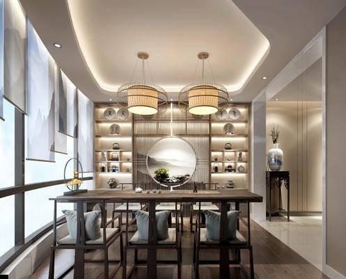茶室, 茶桌, 单人椅, 装饰柜, 吊灯, 装饰架, 装饰品, 陈设品, 新中式
