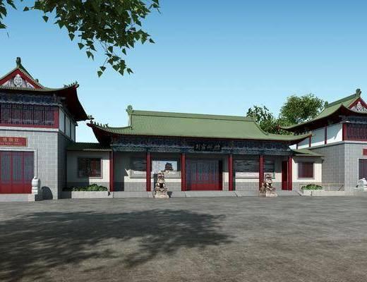 建筑, 古建筑, 门面, 门头, 树木, 石狮子, 中式
